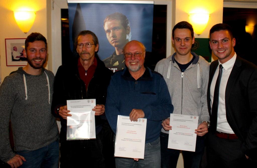 Markus Bengelsdorff und Julius Martenstein mit den Geehrten: Rolf Wagner (v.l.n.r.), Alfred Blaschke und Moritz Hämel (es fehlt: Jonas Schick)