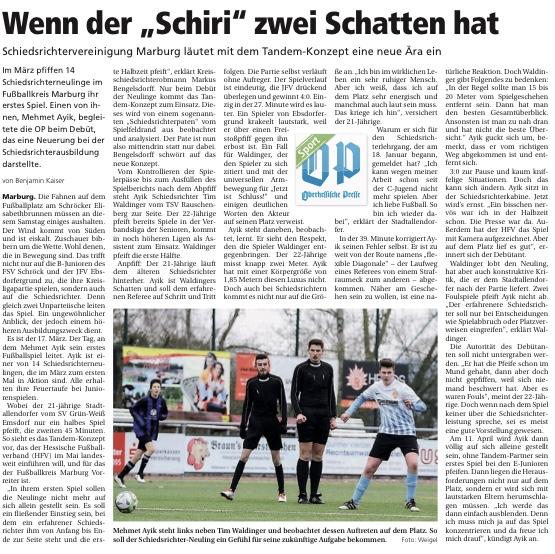 Quelle: Oberhessische Presse (Ausgabe vom 27.03.2018, S. 2)